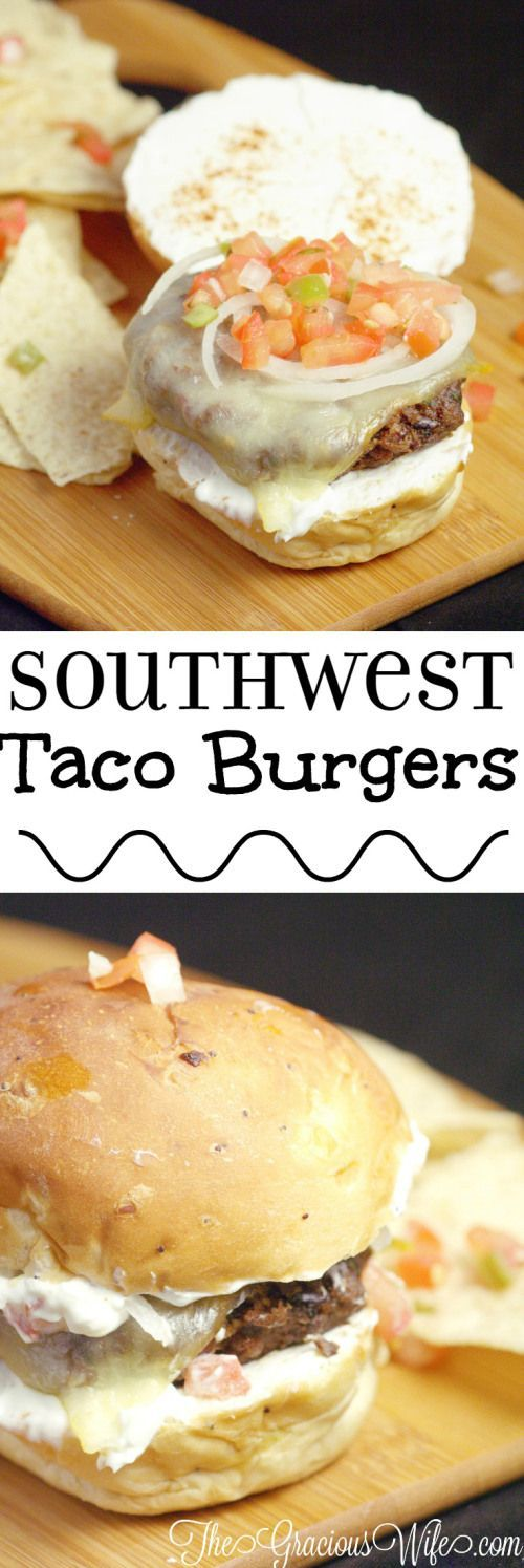 Southwest Taco Burger Recipe - a homemade beef burger recipe with homemade taco seasoning, grilled to perfection and dressed up like a taco. So easy but amazingly delicious!