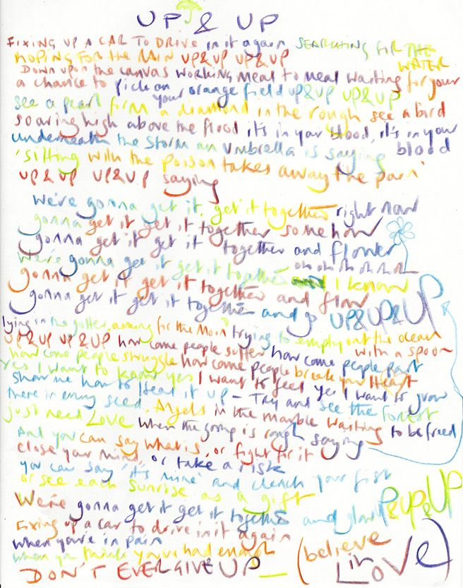 Image result for up.and up lyrics hand written chris martin