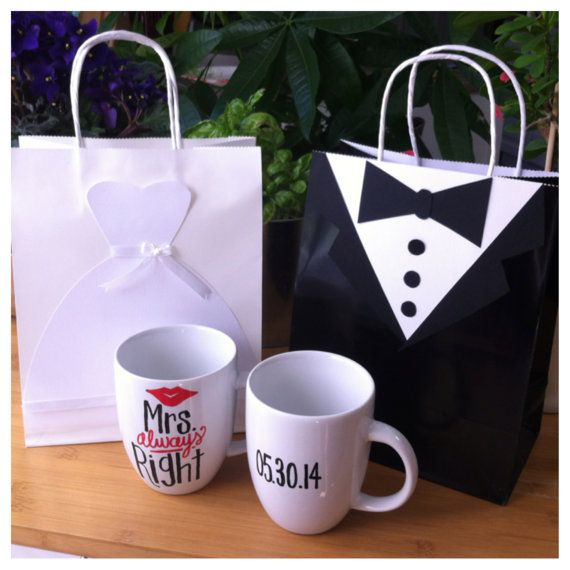 The cutest gift bags ever!!! Great idea for an engagement, bridal shower, or wedding! This etsy shop has cute stuff!