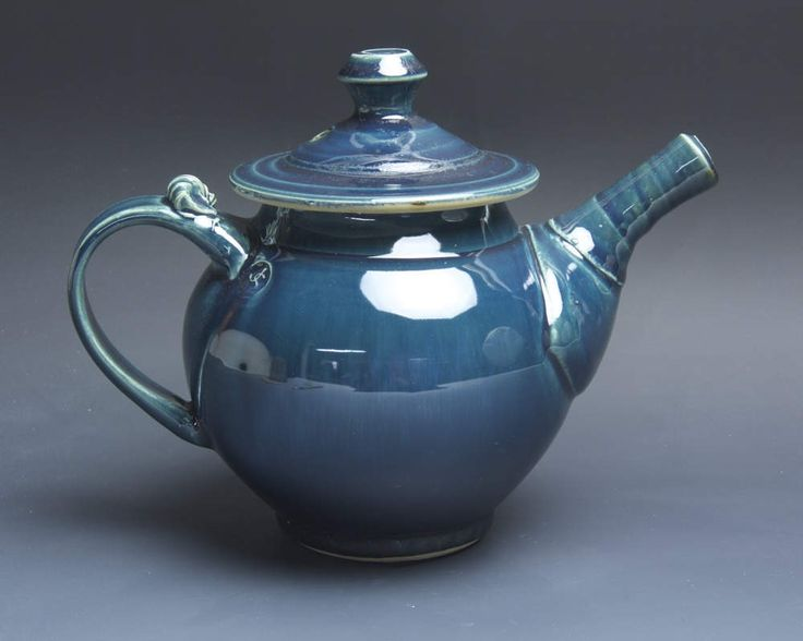Handmade pottery teapot stoneware tea pot 32 ounce glossy blue 3908 by BlueParrotPots on Etsy