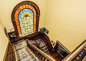 Stunning stained glass at the stairs