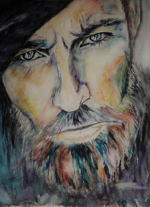 Original Painting Hot Man Portrait Face Portrait Blue-eyed
