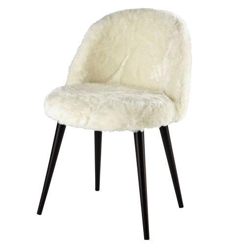 Chaise vintage fausse fourrure ivoire et bouleau massif noir