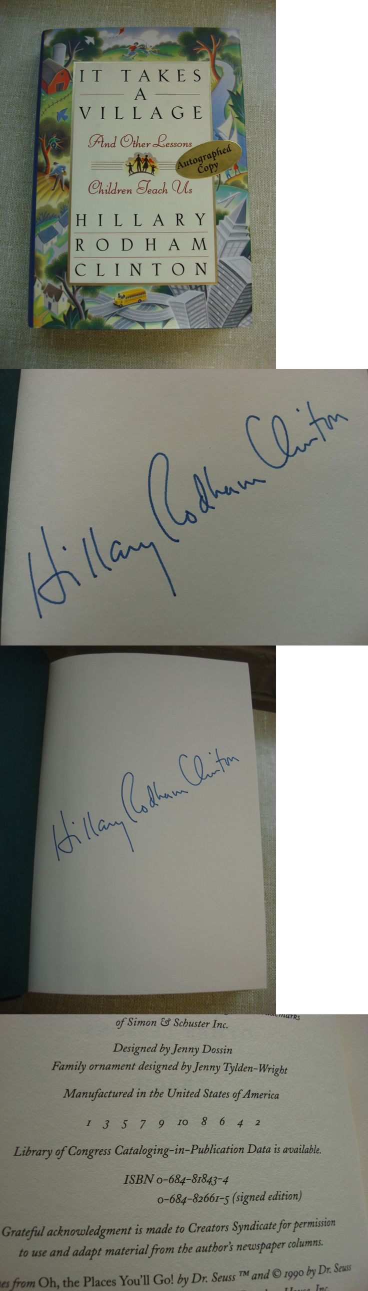 Hillary Clinton: Hillary Rodham Clinton It Takes A Village Signed 1St Printing 1St Edition Rare -> BUY IT NOW ONLY: $69.99 on eBay!