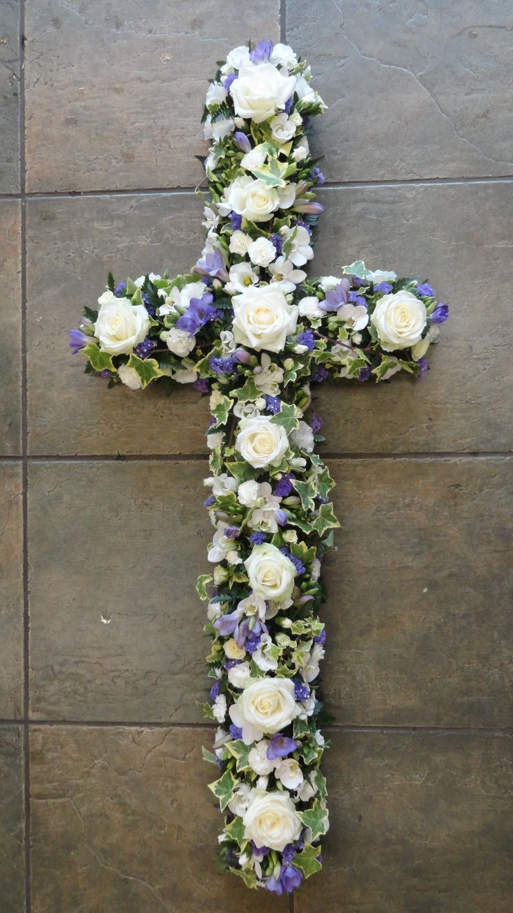 15 best funeral flowers hearts and crosses images on pinterest loose style cross in white and lilac izmirmasajfo Image collections