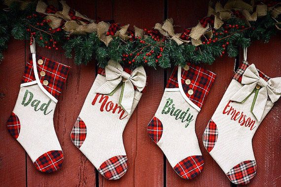 Burlap Christmas Stockings Rustic by ShabbyChicBoutiques on Etsy