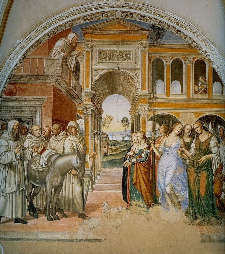Содома. Св. Бенедикт отсылает назад куртизанок, присланных монахом Флорентиусом. 1505-8. Монте Оливето Маджоре. Фреска.