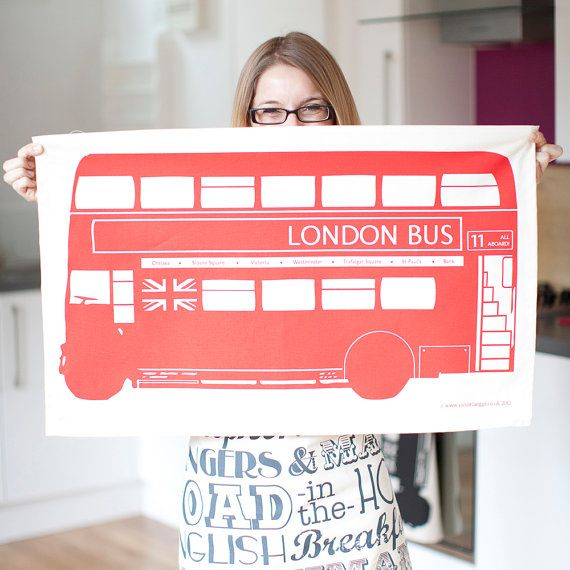 London Bus Dish Cloth Tea Towel by victoriaeggs on Etsy