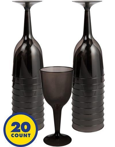 Big Party Pack Black Plastic Wine Glasses 20ct