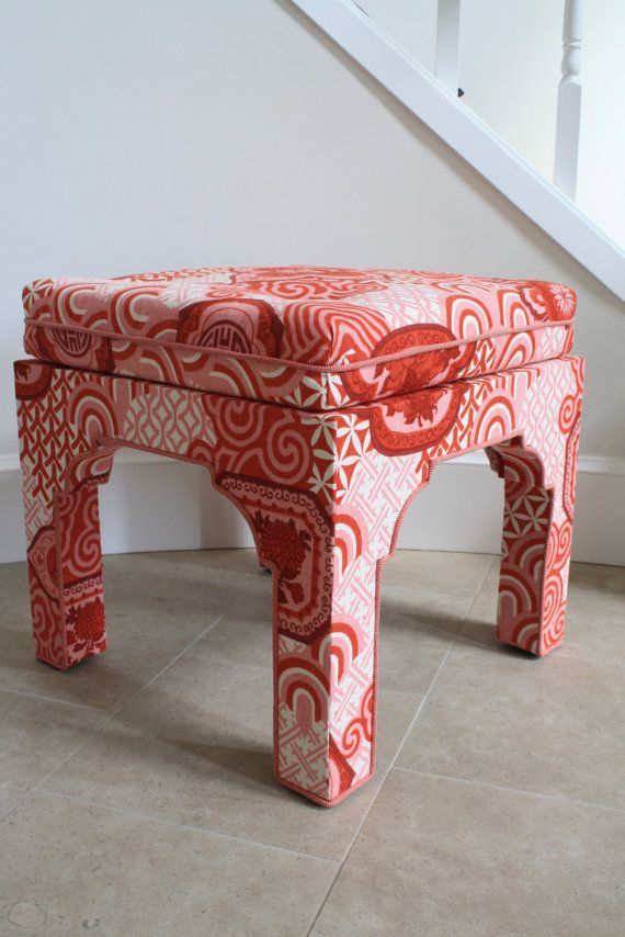 Vintage chinoiserie cotton fabric Mid-Century Pagoda style square upholstered bench stool ottoman & 8 best Le Lac images on Pinterest | Canvas Chinoiserie fabric and ... islam-shia.org