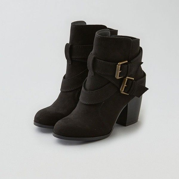 American Eagle Outfitters American Eagle Double Buckle Heeled Boot... ($70) ❤ liked on Polyvore featuring shoes, boots, black, short black boots, american eagle outfitters boots, bootie shoes, black faux boots and cushioned shoes
