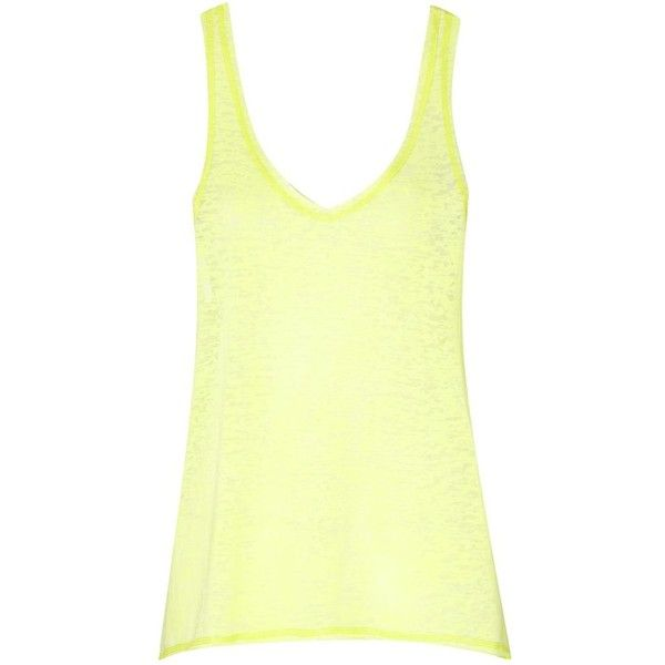 Be Beau Neon Burnout Vest Top ($12) ❤ liked on Polyvore featuring tops, fluorescent vests, yellow tank top, neon vest, neon yellow top and vest tops