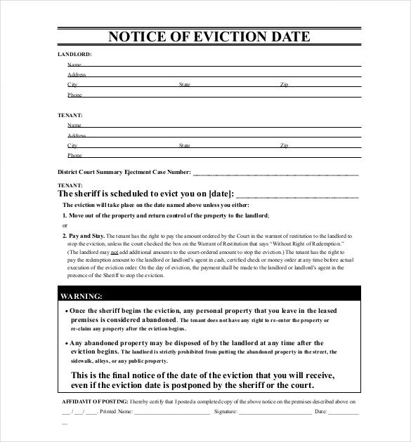 Free Eviction Notice Template template in 2018 Pinterest