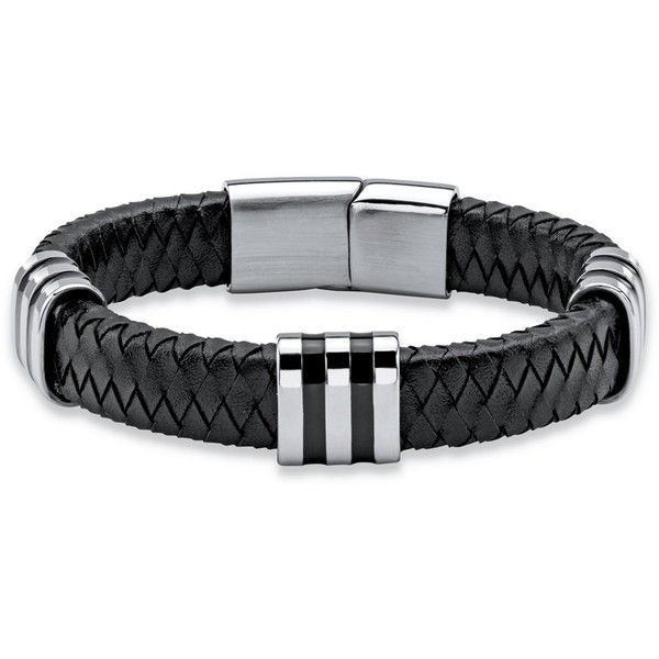 Men's Black Woven Genuine Leather Bracelet With Magnetic Closure In... ($24) ❤ liked on Polyvore featuring men's fashion, men's jewelry, men's bracelets, black, mens watches jewelry, mens leather braided bracelets, mens leather bracelets, mens bracelets and mens magnetic bracelets