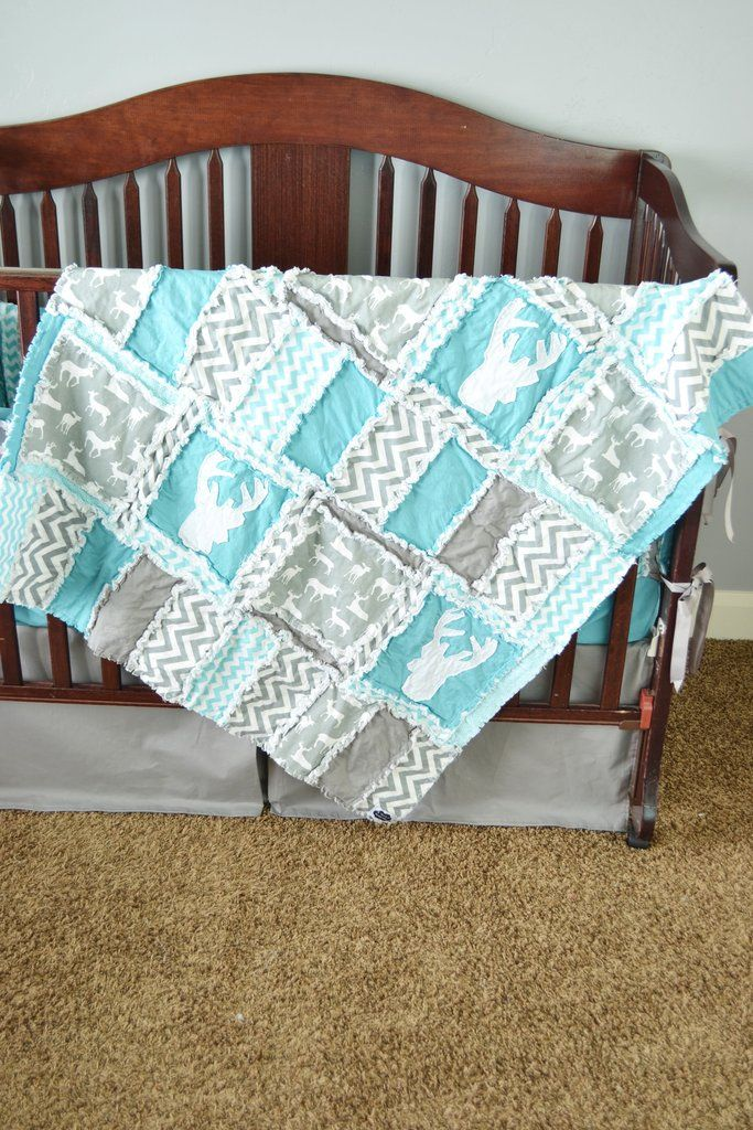 Rag quilt for a crib quilt or toddler bed in grey and turquoise, with chevron…