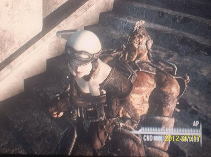 falout 3 Murielle sitting on top of a super mutant