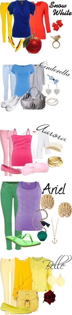 "Disney Princesses ""Updated""! Love Disney inspired clothing ideas :)"