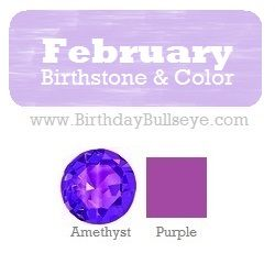 What is the February Birthstone Color? Purple Amethyst | BirthdayBullseye.com - this is one of my favorite gems!