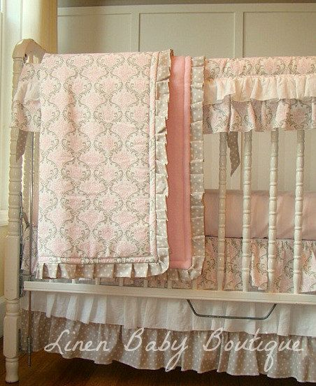 Pink and Tan Bumperless Crib Bedding. 3 Piece Set Includes Ruffled Teething Guard, 3 Tired Skirt and Crib Blanket Ready To Ship.