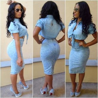Blue Denim Pencil Skirt - Dress Ala