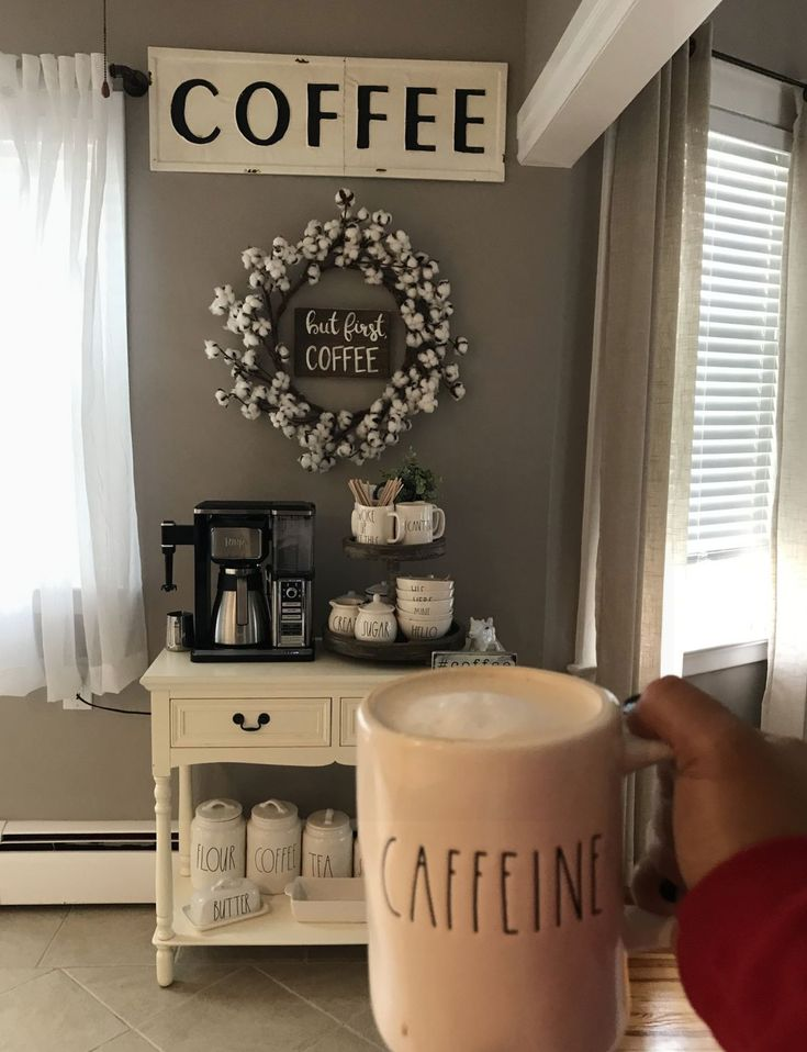 WOW everything in this picture from the coffee sign, coffee bar, wreath and mug are #goals
