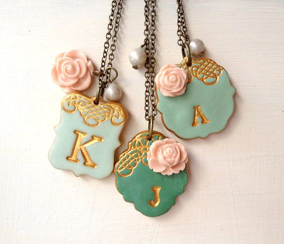 These are gorgeous!! They remind me of iced cookies.  Bridesmaid Necklace - Emerald Green, Mint and Peach -  Set of 3