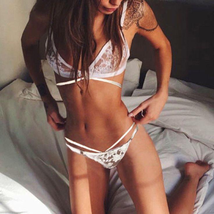 Women Bandage Lingerie White Babydoll Nightwear Sleepwear Underwear G-String