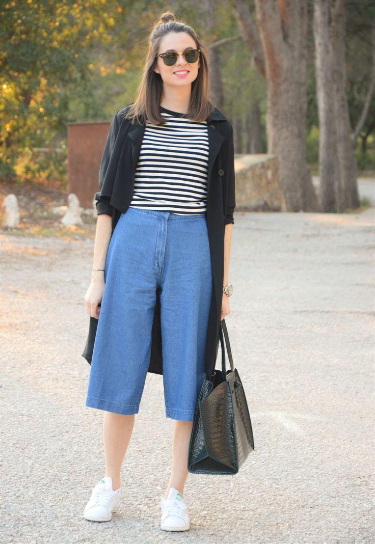 25+ best ideas about Denim culottes on Pinterest | Denim midi dress Denim jumper dress and Wide ...