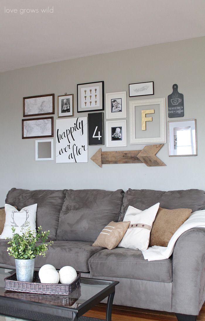 Learn How To Create A Fun Personal And Creative Gallery Wall For Less Than 20 Trying This When I Gallery Wall Living Room Cheap Home Decor Living Room Grey