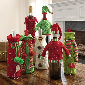 Wine bottle covers...add a bottle of favorite wine for a cute, easy holiday gift.