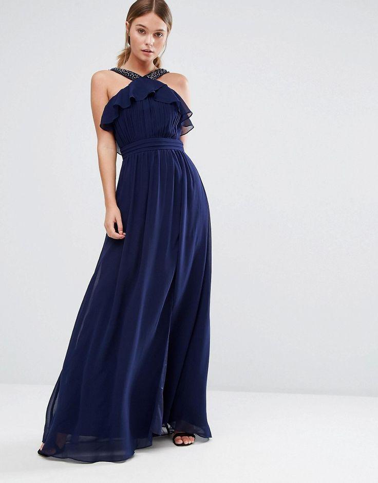 Little Mistress Frill Maxi Dress with Embellishment