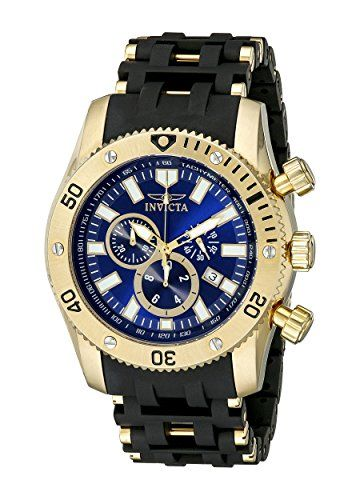 Men's Wrist Watches - Invicta Mens 10254 Sea Spider Chronograph Blue Sunray Dial Black Polyurethane Watch -- Continue to the product at the image link.