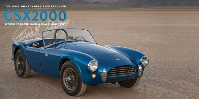 CSX 2000—the very first Cobra that Carroll Shelby built, and kept for his whole life—will be auctioned at Monterey in August.
