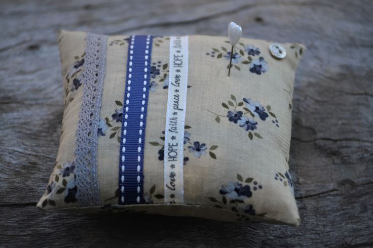 FREE SHIPPING:  Pin Cushion, Vintage Style, Ribbon, Lace, Grey, Navy Blue, Floral by HeartmadeSouthAfrica on Etsy