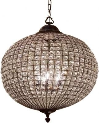 Crystal Globe Brass Chandelier with Adjustable Chain