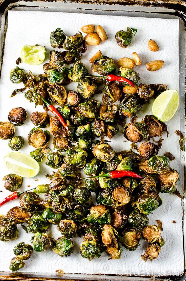 Coconut Oil Fried Brussels Sprouts with Garlic, Chilies and Lime | #healthy #vegetables