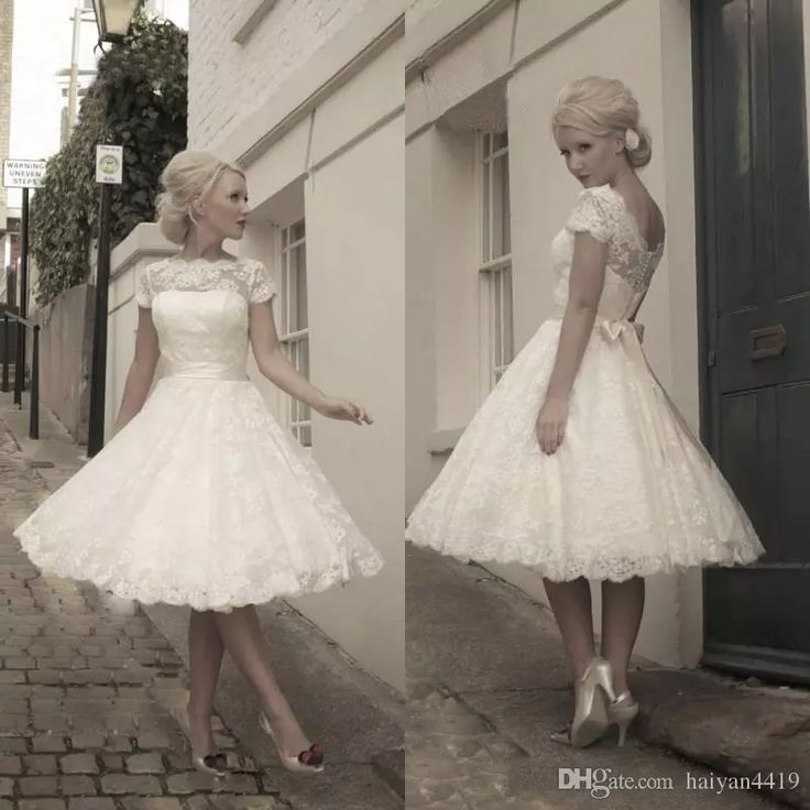 Vintage Lace Tea Length Beach Wedding Dress Short Sleeves: 25+ Best Ideas About Short Vintage Wedding Dresses On