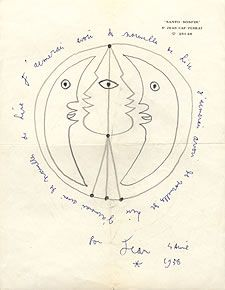 Letter / sketch from Jean Cocteau to Lise Deharme