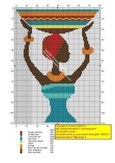 0 point de croix femme africaine avec un plat sur la tete - cross stitch african girl with a plate on her head