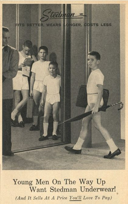 If you ask me, this kid in the 1950s boy's underwear ad looks like he is going to be getting a wedgie before recess.