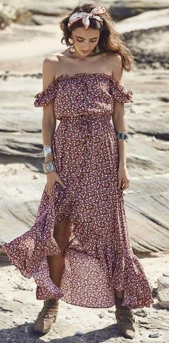 #summer #flawless #outfitideas | Off The Shoulder Boho Maxi Dress
