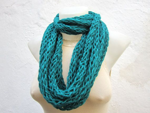 infinity scarf Finger Knitting Scarf teal  Necklace by scarfnurlu