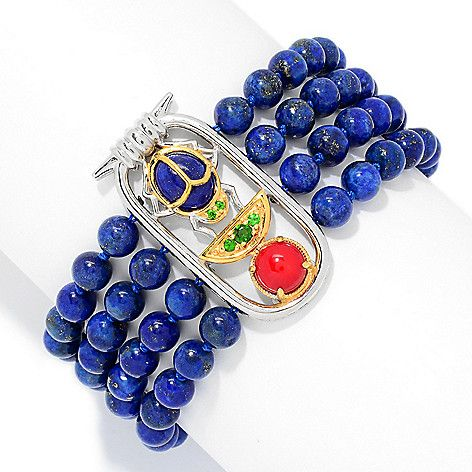 "160-674 - Gems en Vogue Cleopatra 7.25"" Lapis Bead & Multi Gem Scarab Beetle Toggle Bracelet"