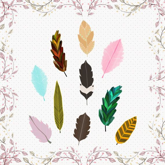 feather cliparts cute retro feather by CinnamonCoffeeStudio