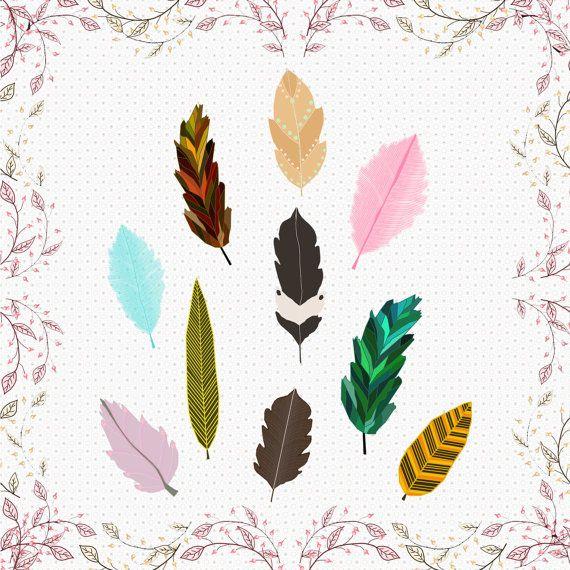 feather cliparts cute retro feather by CinnamonCoffeeStudio