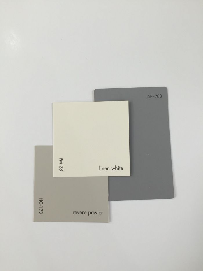 HC-172 Revere Pewter paired with Linen White PM-28 and AF-700 Storm. Benjamin Moore