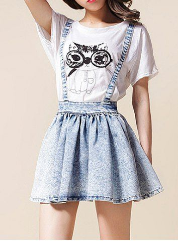 High-Waisted Bow Tie Embellished Bleach Wash Women's Suspender Skirt