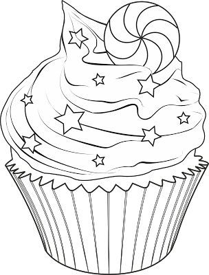 cupcake..white frosting, blue stars and red and white peppermint..4th of july card