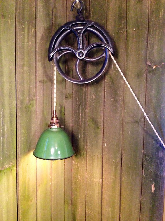 Upcycled Rustic Industrial Well Pulley Pendant Light With