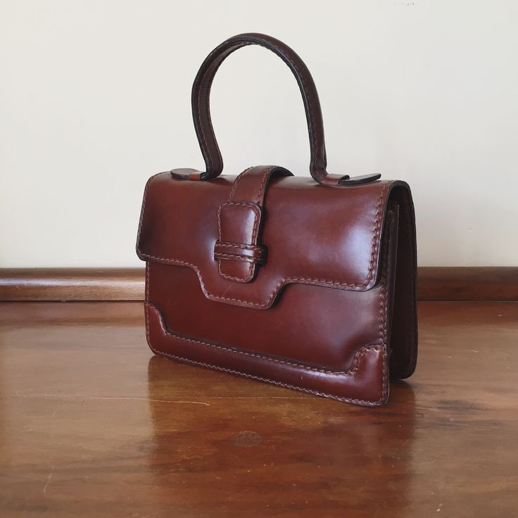 Vintage 1930s French leather mini satchel / purse